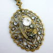 Steampunk Neo-Victorian Lattice Pendant with Vintage Watch Movement, ornate bail adorned with Swarovski Crystals by Victorian Folly