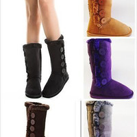 New Womens Fur Winter Snow Boots Faux Suede Calf Warm Cute Fashion Flat Shoes
