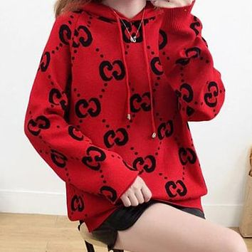 GUCCI Autumn Winter Trending Women Stylish Double G Letter Jacquard Hooded Sweater Top Sweatshirt Red(Black Letter)