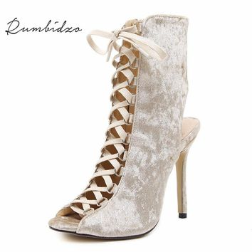 Rumbidzo 2018 Brand Women Pumps Peep Toe High Heels Shoes Woman Cross-tied Lace Up Heels Slingback Stiletto Zapatos Mujer