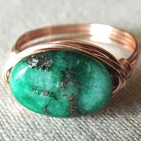 Chrysocolla Pyrite Ring Green Stone Ring Unique Ring Gift for Best Friend Gift for Girlfriend Mint Green Ring Gifts Under 15 Natural Stone