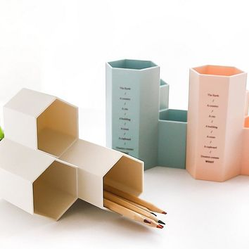 Simple High Quality Hexagonal Pencil Pen Holders Desk Accessories