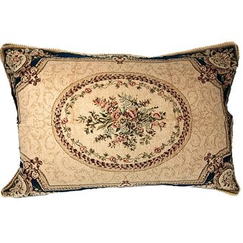 Tache 1-2 Chenille Floral Blue Medallion Woven Garden Guardian Pillow Sham (DSC0011)
