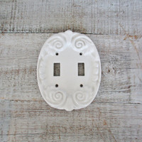 Double Light Switch Cover Ceramic Light Switch Cover Mid Century White Lightswitch Plate Cottage Chic Double Light Switch Cover