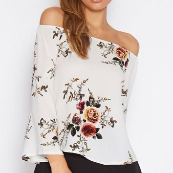 Off Shoulder Flower Print Trumpet Sleeves Blouse