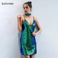 Green Sequined  A line Mini Dress Sexy V Neck Sleeveless Sling Strap Sexy Summer Night Club  Dress