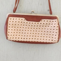 Vintage 1980s 90s Cognac Tan Brown Leather Woven leather Cut out Purse Boho Rustic Classic Preppy Indie Urban Beach Retro Bueno Bag