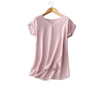 100% Pure Silk Women's Blouses Femme Casual Blouse Women Solid Blusa Female Short Sleeve Woman Tee Tops Shirts Patchwork