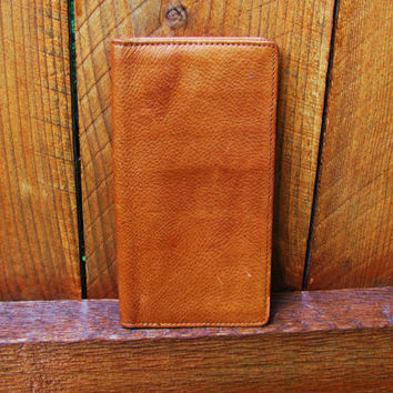 vintage leather Fossil checkbook cover. distressed leather wallet. distressed leather checkbook cover