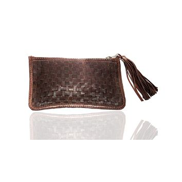 Leather Ladies Woven Clutch Bag