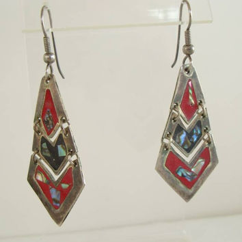 Mexican Inlaid Red Enamel Abalone Dangle Earrings Alpaca Vintage Jewelry
