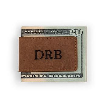 Tanned Genuine Leather Magnetic Money Clip - Personalized (Pack of 1)