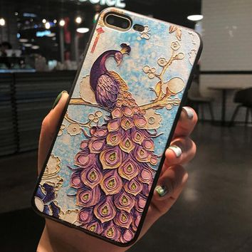 Peacock Pattern Case for iPhone X 8 7 6S Plus &Gift Box