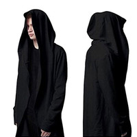 WEIYI H220 Casual Long Hooded Cloak Cape Black Cardigan Jacket (XS-3XL size)