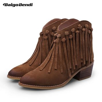 US4-9 Cow Suede Leathe Fringe Tassel Ankle Boots Womens Thick Heel Boots Ladies Winter Low Heel Casual Shoes