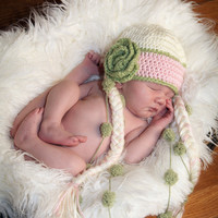 Baby Girl Hat -  Crochet Hat Beanie with Flower and braids