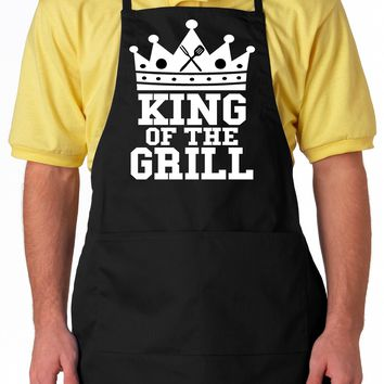 Black Aprons With Pockets. Fathers Day King Of The Grill Aprons For Men Women Gift.