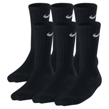 Nike Banded Cotton Crew Kids' Socks (Medium/3 Pairs) (Black)