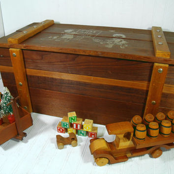 Vintage Cass Wooden Toys And Things Chest - Large Solid Wood Handmade Storage Trunk with Heavy Rope Handles - Treasure Chest - Mudroom Bench