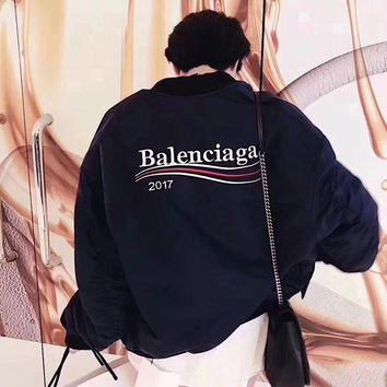 DCCKH3L Balenciaga' Women Fashion Wave Stripe Letter Embroidery Long Sleeve Zip Cardigan Cotton-padded Clothes Jacket Coat
