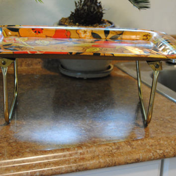 Vintage Metal Tray/Orange, Brown and Yellow Retro
