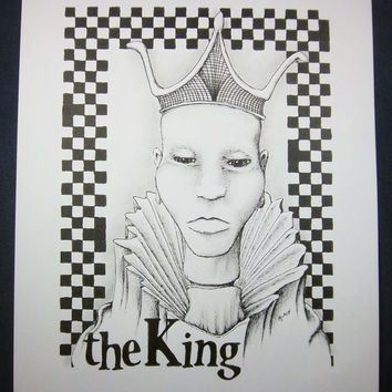THE King Chess Series: Original art, black and white art, surreal portrait, pen and ink drawing, ink illustration, pen drawing 8x10