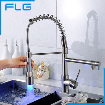 Brushed Nickel Pull Out LED Kitchen Faucet, Single Hole Double Spout