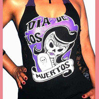 Day Of The Dead / Dia De Los Muertos Womens Custom Altered Diy Halter Top