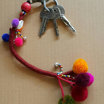 Key chain small bead and  pom pom ball handmade mix color random hill tribe bohemian reggae gift item.