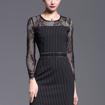 Black Lace-Paneled Stripe Sheath Dress