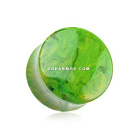 A Pair of Green Lava Infused Double Flared Ear Gauge Plug
