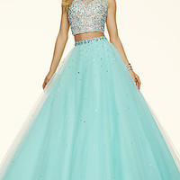 Two Piece Open Back Ball Gown Style Prom Dress by Mori Lee