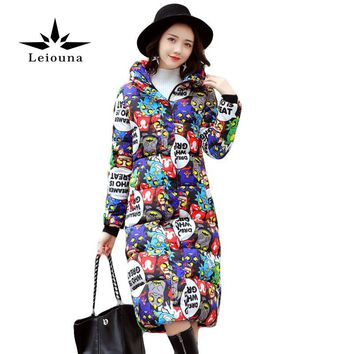 Leiouna Fashion Long Winter Jacket Print Women Down Cotton Letter Coat Female Thickening Warm Parka Hooded Large Sizes 4xl