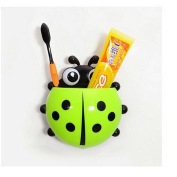 Lovely Ladybug Suction Cup Toothbrush Holder Wall Mount Toothbrush Stand Set Bathroom Storage Toothpaste Hooks