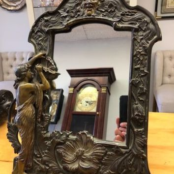 Antique Solid Bronze Dresser Mirror~Art Nouveau Style~Green Man