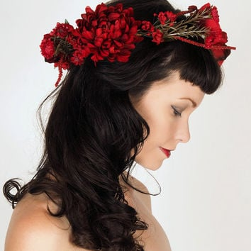 Floral Crown with Big Dramatic Red Flowers - Holiday or Fall Wedding - Head Wreath - Roses