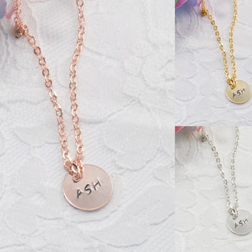 Personalized Coin Disc Necklace Bracelet Anklet Delicate Hand Stamped Jewelry