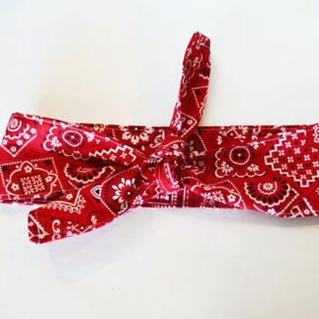 Red Bandana women/teen/children/toddler/baby tie headwrap, all sizes headwraps/headband, retro style wrap