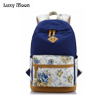 School Canvas Backpack Women Printing Students Book Bag Teenager Girl Shoulder Bag 2017 Female College Student Bag ZD605
