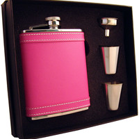 Visol Alexis 6oz Hot Pink Leather Flask Gift Set
