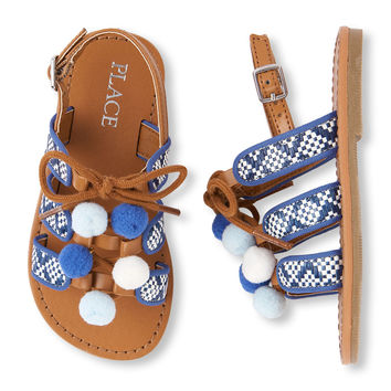 Toddler Girls Pom Pom Faux Lace-Up Gladiator Sandal | The Children's Place