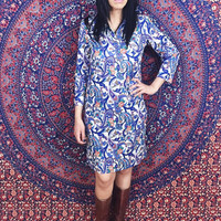 Vintage 60s Mod Cream Paisley Psychedelic Polyester Long Sleeve Shift Dress M