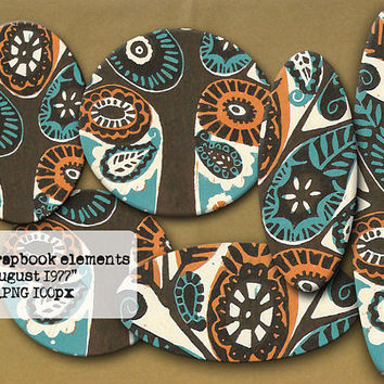 Retro Scrapbook Elements - 3D PNG kit - Digital Tags - Teal and Brown - Boho Clipart - Hippie Art - Boho Elements - Branding Pack - Bohemian