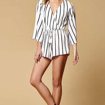 Reverse Day In The Sun Stripe Surplice Romper at PacSun.com
