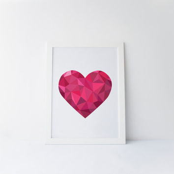Love Heart, Valentines day Home Decor Heart Art, Pink Heart, Valentine's Day Heart Wall Art, Love Wall Art, Valentine Gift, Printable Art