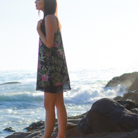 Navy Floral Palm Shift Dress