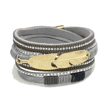 Crystal and Suede Feather Wrap Bracelet