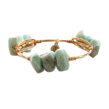 Bourbon and Bowties Triple Pale Turquoise Faceted Bangle