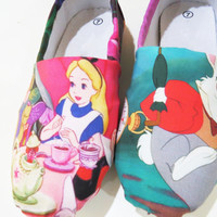 Alice in Wonderland Shoes (Disney, Toms, Rabbit, Mad Hatter, Queen of Hearts, Cheshire cat, Flats, Slip ons) Men, Women, Kids, Youth