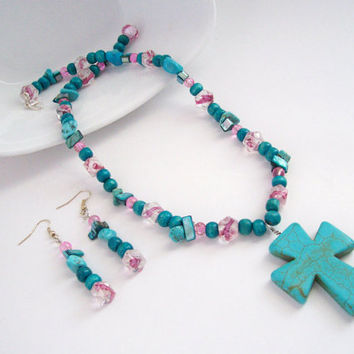 Howlite Turquoise Cross Necklace , Cross Necklace and Earrings Set w/ Pink Beads, Turquoise Glass Beads, Boho Necklace, Christian Jewelry